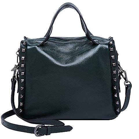 BOYATU Genuine Leather Handbag for Women Rivets Shoulder Bag Cross body Purse Top Handle Bag Satchel Totes(Dark green)
