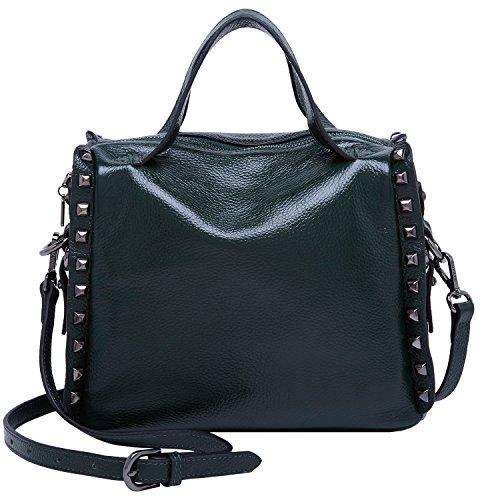 9071dabe6e93c BOYATU echtes Leder Handtasche für Frauen Nieten Schultertasche Kreuz  Körper Geldbörse Top Griff Tasche Satchel Totes