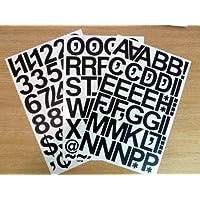 Paquetes de 79 adhesivos (50mm) marca MINILABEL con números y letras de vinílico, auto-adhesivos, adherentes, listos para cortar con su forma, resistentes al agua, para señalizaciones en vehículos, botes, carteles y proyectos escolares