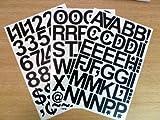 Selbstklebende scharze Buchstaben und Ziffern (79 Stück, 50 mm); aufklebbare, wasserfeste, zugeschnittene Beschriftung für Schilder, Fahrzeuge, Boote, Poster und Schulprojekte