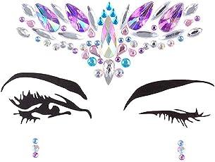 Baradu 1 Set Amazing Rhinestone Face Gems Stone Jewelry Sticker Temporary 3D Tattoo for Women Girls