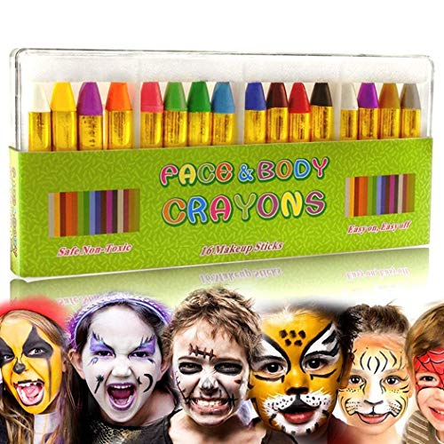 Rokirs Kit de Crayones Color de la cara para Niños Pintura corporal y aceite Clown Fans Devil Ghost Party Cuerpo