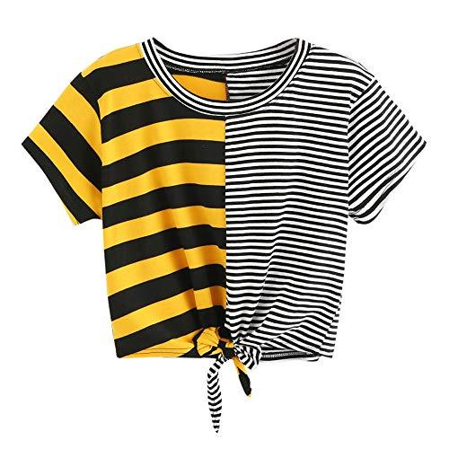 KIMODO T Shirt Damen Gestreift Bluse O-Hals-Verband Tops Kurzarm Sommer Oberteile Patchwork Lässig Shirt Große Größen Mode ()