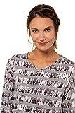 GINA LAURA Damen Shirt, Streifen, Zierbänder, Saumtunnelzug, 3/4-Arm grau S 719761 12-S