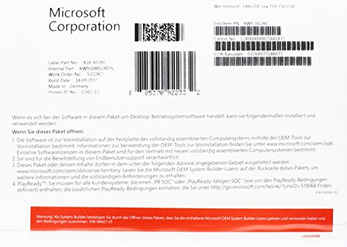 MS Windows Home 10 64bit DVD OEM (DE)