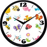 Cartoonpur 11 inches Analog Cute Bugs Silent/Sweeping Movement Plastic Wall Clock with Glass
