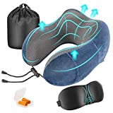Newdora Travel Pillow Neck Pillow Memory Foam Sleeping Comfort Lumbar Support Neck Cushion Travel Kit Compact for Travel Office Home Camping Car with Sleeping Mask Earplugs Storage Pouch(Navy)