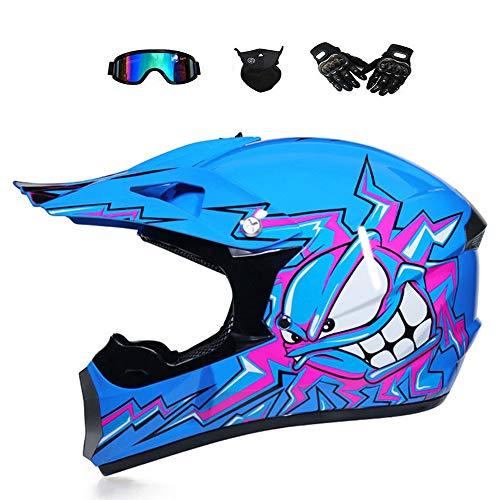 BMAQ Motocrosshelm für Kinder, Crosshelm Motocross Blau mit Brillen Handschuhe Maske, Full-Face MTB Helm für Quad ATV Enduro Motorrad Helm,M(56~57CM) - Atv Kinder Helm Blau