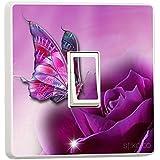 Stika.co - Adesivo in vinile per placca di interruttore sw19, motivo: farfalla viola
