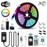 Chalpr LED Strip 5m, WiFi LED Streifen Set Smart Phone APP Kontrolle Kompatibel mit Alexa,Google Home,IFTTT,RGB LED band, IP65 Wasserdicht Lichtband Leiste, 24 Tasten IR Fernbedienung 12V 3A Netzteil