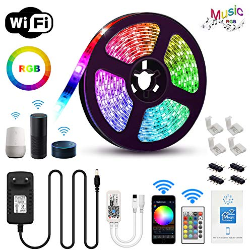 Chalpr LED Strip 5m, WiFi LED Streifen Set Smart Phone APP Kontrolle Kompatibel mit Alexa,Google Home,IFTTT,RGB LED band, IP65 Wasserdicht Lichtband Leiste, 24 Tasten IR Fernbedienung 12V 3A Netzteil 5 Taste Set