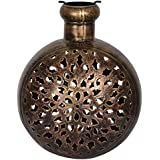 Shresth Lifestyles Brass Jali Kuriya Candle Holder - Small (24 Cm X 19 Cm X 31 Cm, Metallic)