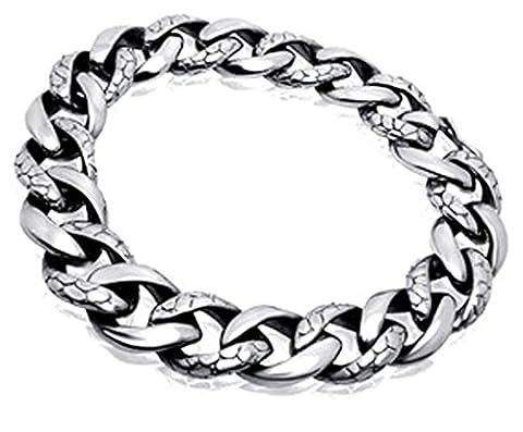 AMDXD Jewellery Steel Mens Watch Retro Silver Polished Link Bracelet