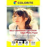 Colorite 135 GSM A4 20 Sheet Self Adhesive Inkjet Photo Paper (SAH135G420)