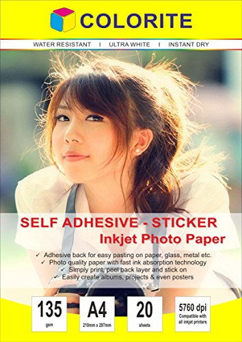 Colorite Self Adhesive Inkjet Photo Paper 135 GSM A4 20 Sheet