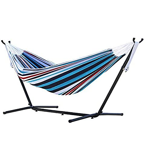 Vivere Combo Multi-colored Denim Double Hammock with Stand