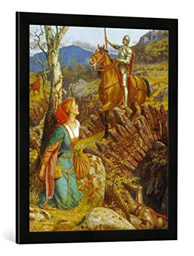 Gerahmtes Bild von Arthur Hughes Der Sturz des Rostigen Ritters, Kunstdruck im hochwertigen handgefertigten Bilder-Rahmen, 50x70 cm, Schwarz matt -