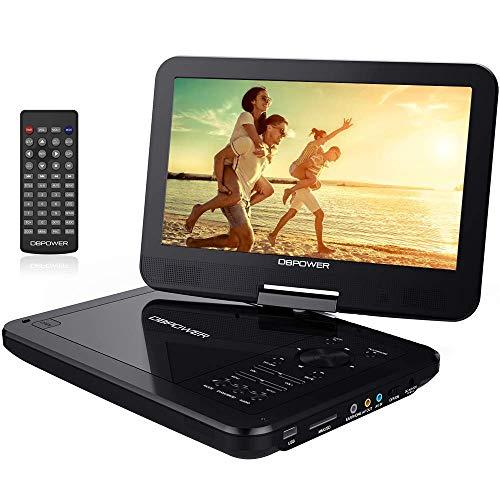 """10.5\"""" Tragbarer DVD-Player mit Wiederaufladbarer Batterie, 1024*600 Digital TFT Schwenkbaren Bildschirm, unterstützt SD-Karte und USB (Schwarz)."""