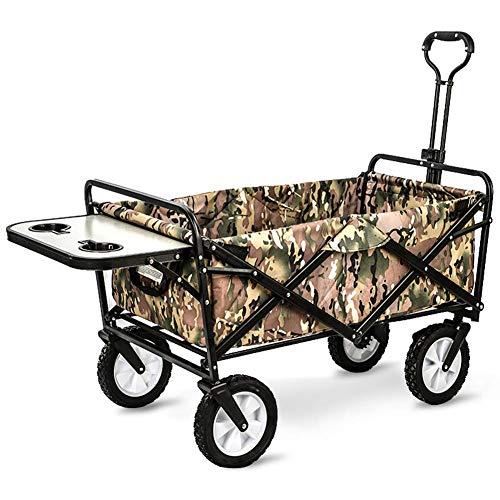 Salon-wellness-design (Trolley Wagon, Zusammenlegbarer Outdoor Utility Wagon Mit Klapptisch Und Getränkehaltern, Für Camping Shopping Beach Park,a)