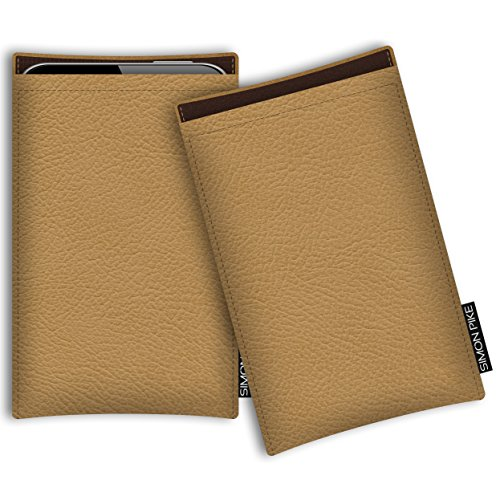 SIMON PIKE Kunstleder Tasche Boston, kompatibel mit Sony Xperia XZ 4, in 02 Camel Kunstleder