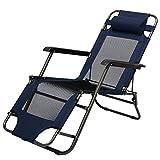 AMANKA Faltbare Campingliege Freizeitliege Verstellbare Gartenliege Liegestuhl mit Nackenstütze Klappliege in Dunkelblau Stahlrahmen Belastbarkeit max. 120KG 153cm