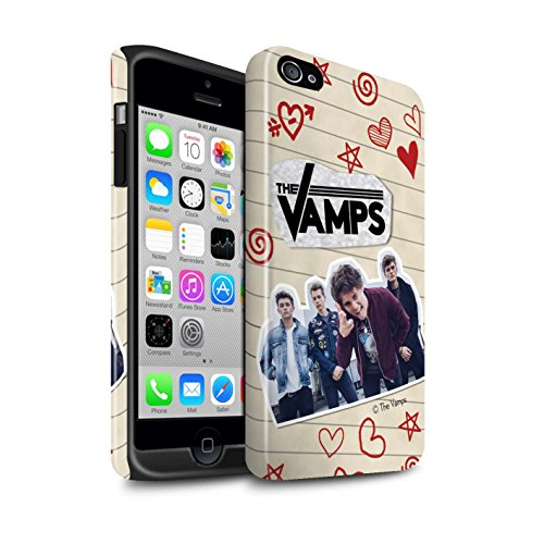 Offiziell The Vamps Hülle / Glanz Harten Stoßfest Case für Apple iPhone 4/4S / Pack 5Pcs Muster / The Vamps Doodle Buch Kollektion Rot Stift