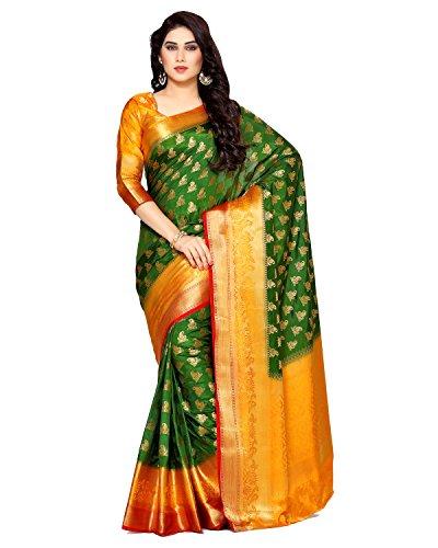 Mimosa By Kupinda Women\'s Art Silk Saree Kanjivaram Style (Latest Designer Sarees /Party wear sarees /New collection sarees) (4133-266-3D-BGRN) Color: Green
