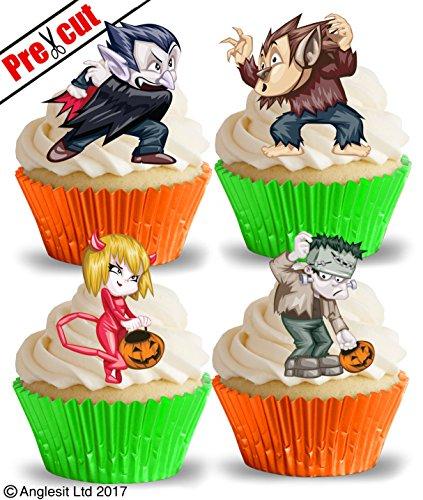 vorgeschnittenen Halloween Zeichen III. essbarem Reispapier/Waffel Papier Cupcake Kuchen Topper Halloween Party Dekorationen