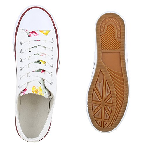 Damen Sneakers Sportschuhe Sneaker Low Denim Stoffschuhe Blumen Camouflage Flandell Weiss Blumen Cabanas