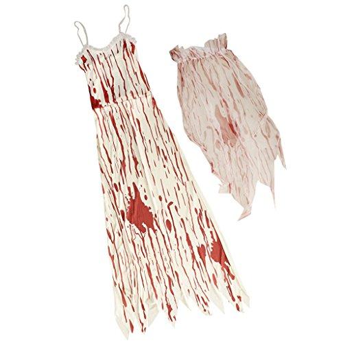 Unbekannt MagiDeal Blutiges Halloween Braut Kostüm Zombie Brautkleid Cosplay Kostüm mit Kleid und...