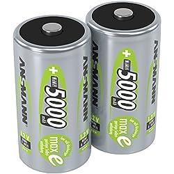 ANSMANN 2 piles rechargeables D, 1,2 V / Type 5000mAh / HR20 / Accumulateur NiMH de grande capacité avec une puissance de sortie constante et une longévité élevée - idéal pour les appareils à forte consommation d'énergie, 2 unités