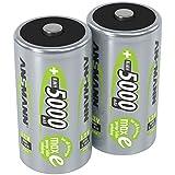 ANSMANN  LSD Mono D Akkubatterie, 1,2 V / Typ 5000mAh / Hochkapazitiver NiMH Akku mit konstant hoher Leistungsabgabe & Langlebigkeit - ideal für Geräte mit hohem Stromverbrauch, 2 Stück
