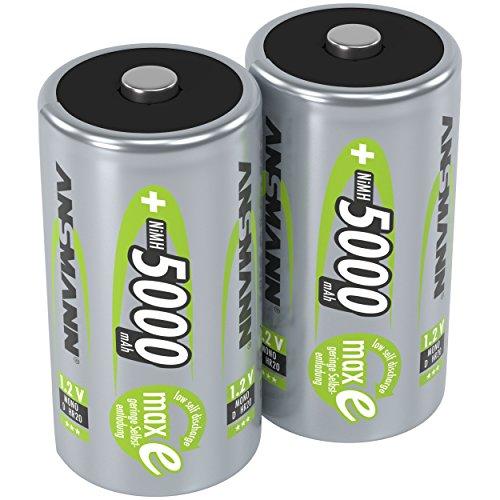 ANSMANN Akku D Mono 5000mAh 1,2V NiMH 2 Stück für Geräte mit hohem Stromverbrauch - Wiederaufladbare Batterien maxE - Akkus für Spielzeug, Taschenlampe, Radio, Modellbau uvm - Rechargeable Battery