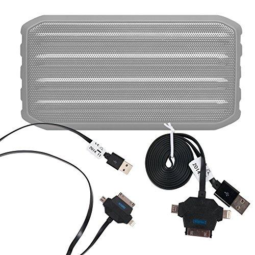 DURAGADGET Cable De Carga Y Sincronización De Datos ¡3 en 1! Para Altavoz Bluetooth Techvilla S01 - De USB A MicroUSB / Lightning / Conexión Dock (35 Pines)