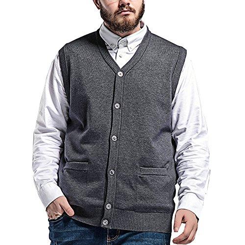 DOXUNGO Premium Pullunder DOXUNGO Weste für 80-145Kilo Männer vergrößt Strickjacke ohne Ärmel (Grau, 7XL)