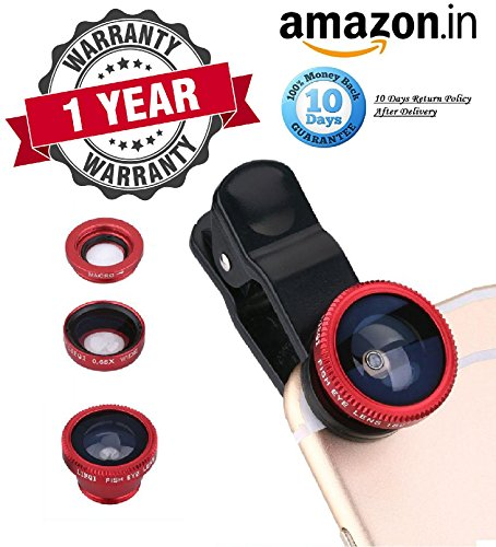 [Sponsored]Rewy 3 In 1 Mobile Cell Phone Camera Lens Kit | 180 Degree | Fisheye Lens + 0.67X Wide Angle + 10X Macro Lens| With Lens Clip Holders Compatible With All Android, Windows And IOS Device {Assorted Colour}