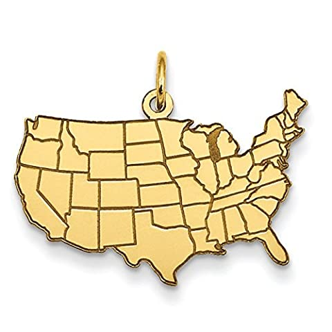 14ct Gold United States Map Charm - Measures 18x25mm