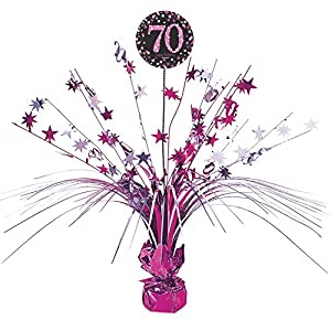 Amscan International - 9901741 45 cm rosa celebración 70th Centrepiece spray