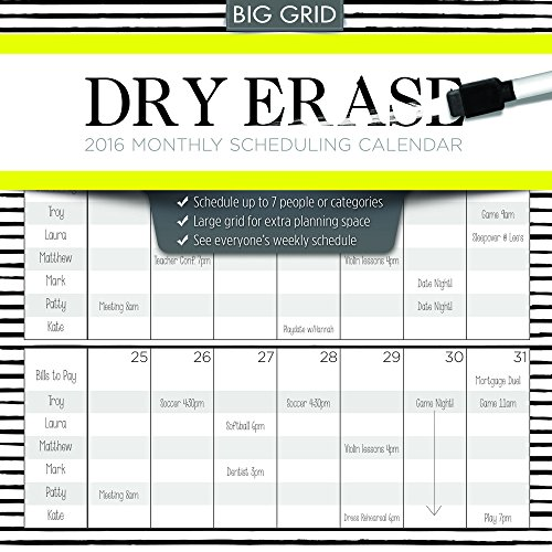 Dry Erase Monthly Scheduling 2016 Calendar: Includes Dry Erase Pen - Dry Erase Calendario