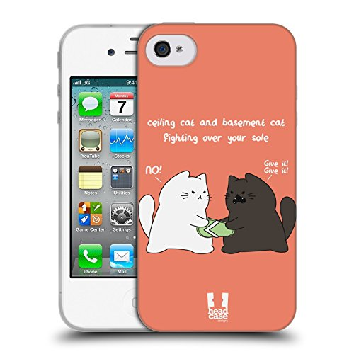 Head Case Designs Fighting Over Your Sole Ceiling Cat Vs Basement Cat Soft Gel Hülle für Apple iPhone 4 / 4S