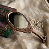 ExclusiveLane Wooden Engraved Handheld Mirror from Royal Queen Collection - for Gift/Home Daccor