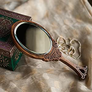 """ExclusiveLane Wooden Engraved Handheld Mirror From""""Royal Queen Collection"""" - For Gift/Home Décor/Vanity Mirrors Decorative Mirrors Vanity Mirrors Console Mirrors Hand Mirrors Mirrorsive Mirrors"""