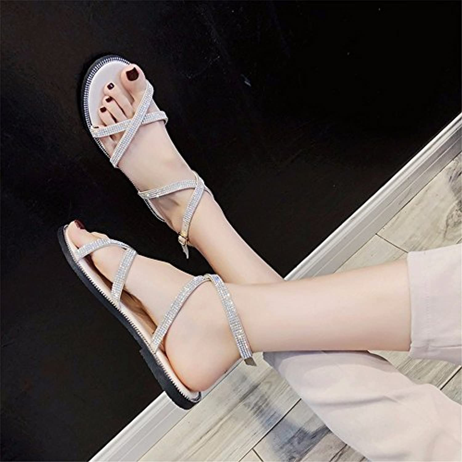 ca72f6e64a01 YMFIE Women s Summer Cross Rhinestone Open Open Open Toe Flat Sandals Beach  Shoes B07FHL2KPQ Parent a36668