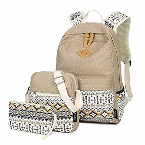LABABE Canvas Backpack School Bags Set for Teens Girls, Casual Daypack + Shoulder Bag + Pencil Case - khaki