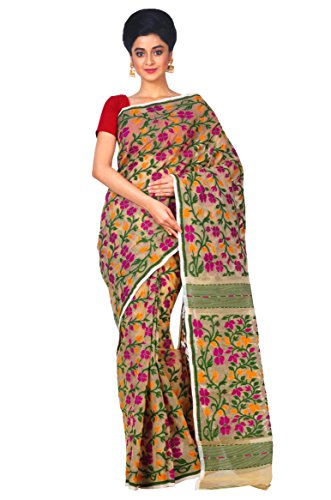 RLBFashion Women's Cotton Silk Handloom Dhakai Jamdani Saree (Pink & Green)