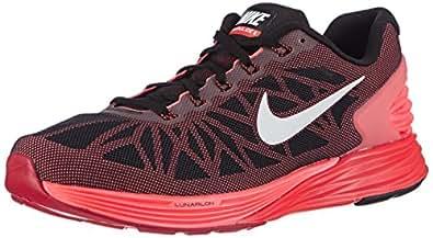 Nike Lunarglide 6, Running Entrainement Homme - Noir (black/white-bright Crimson-hot Lava), 41 EU