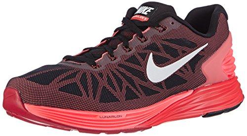 Nike Lunarglide 6, Scarpe sportive, Uomo, Multicolore (Black/White-Brght Crmsn-Ht Lv), 42.5