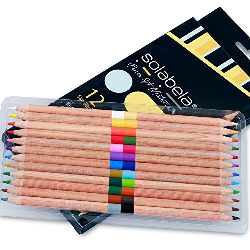 Solabela® 12 zweifarbige Farbstifte aus Zedernholz, insgesamt 24 Farben.
