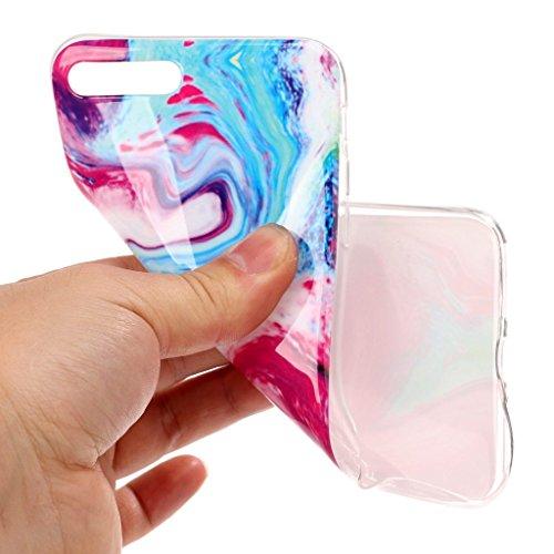 """Hülle für Apple iPhone 7 Plus , IJIA Marmor Muster Rosa TPU Weich Silikon Handyhülle Stoßkasten Cover Schutzhülle Handytasche Schale Case Tasche für Apple iPhone 7 Plus 5.5"""" (YH76) YH78"""