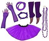 A-Express 1980s Femme Adulte Neon Tutu Jupe Jambières Collier Gants Résille Partie complet Déguisement Ensemble (36-44, Violet)